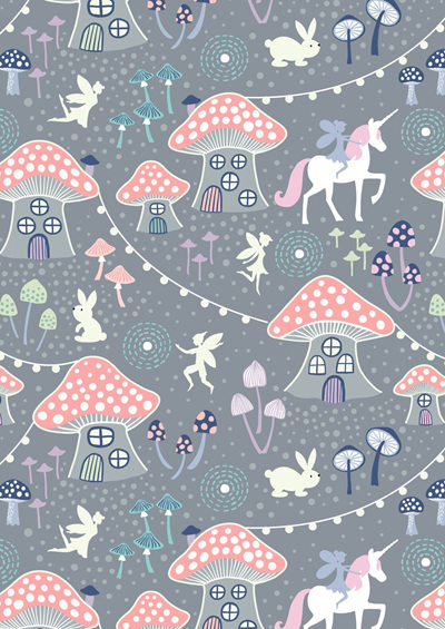 Fairy Nights Mushroom Village on Dusky Grey A403.1