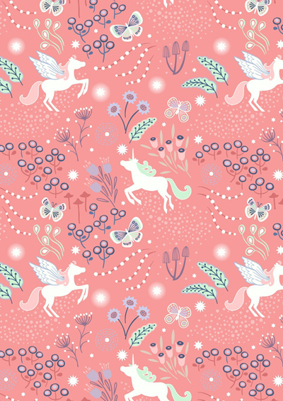 Fairy Nights Unicorn Meadow on Peachy Pink A405.2