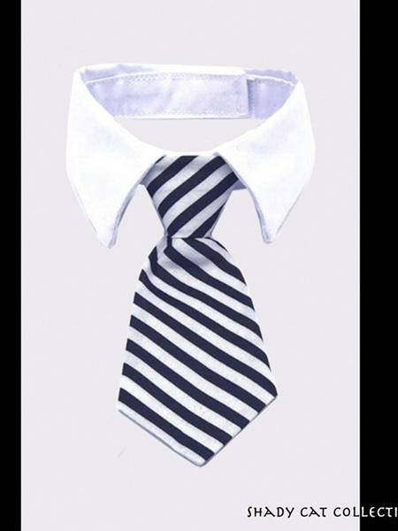 Fancy Striped Black & White Cat Tie