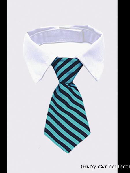 Fancy Striped Blue Cat Tie