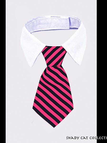 Fancy Striped Hot Pink Cat Tie
