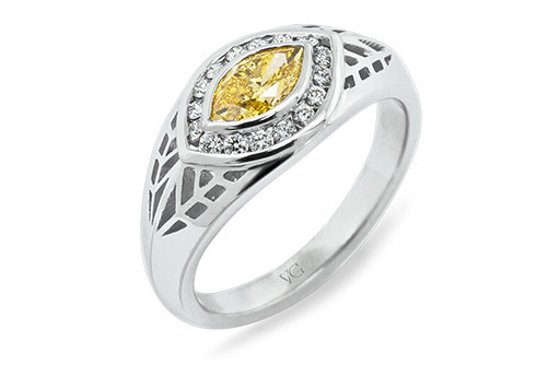 46b3a7d0f94f9 The Ring. This engagement ring features a 0.523ct Fancy Yellow marquise cut  ...