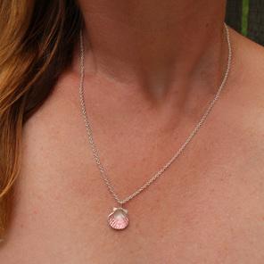 fanshell shell pink beach summer sterling silver necklace pendant ocean