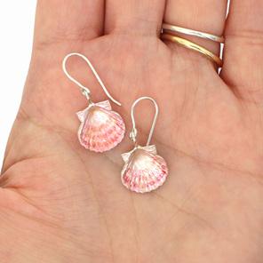 fanshell shells pink beach summer sterling silver earrings ocean