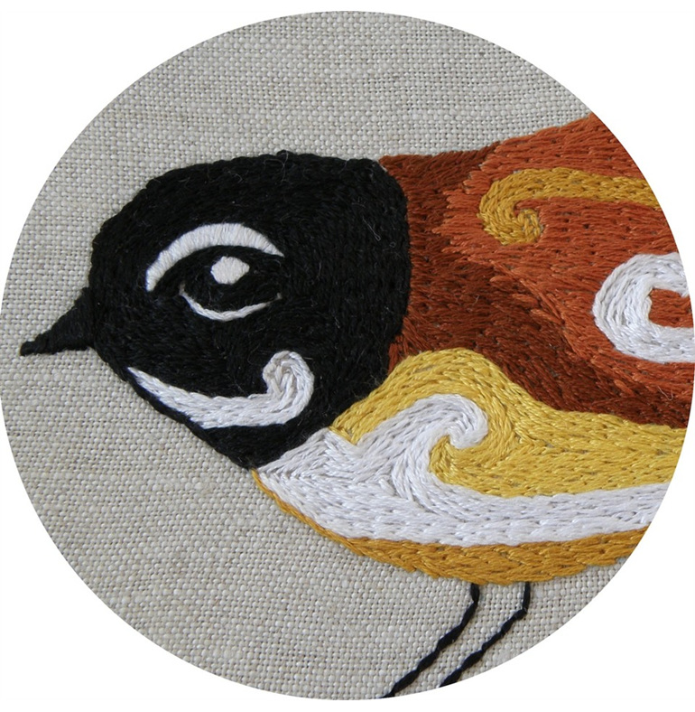 Fantail embroidery emailed pattern