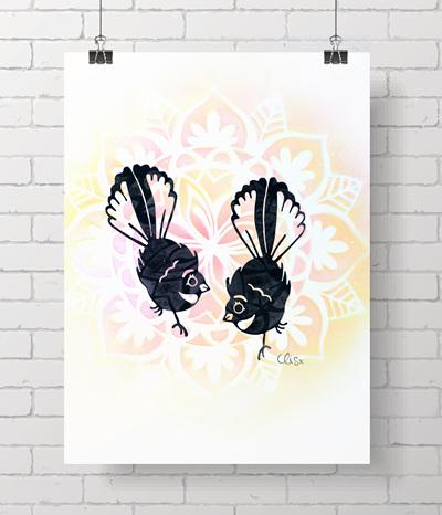 * Fantail - handprinted a4 prints - 3 left