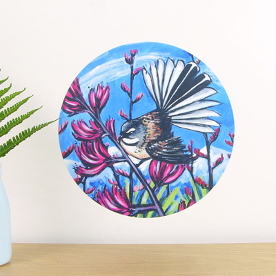 Fantail in Harakeke wall decal dot