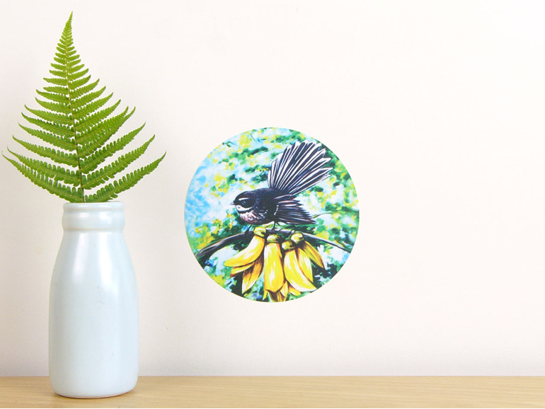 Fantail in Kowhai wall decal dot