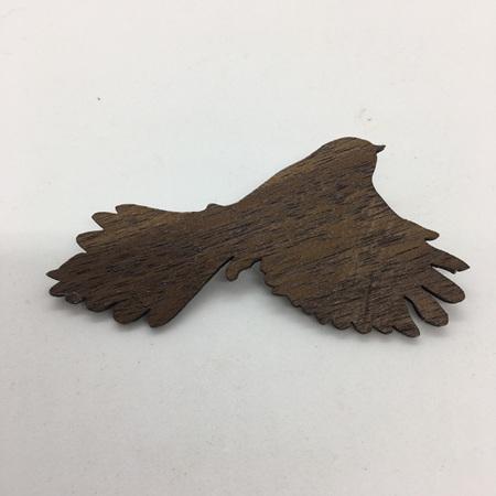 Fantail Wood Veneer Brooch