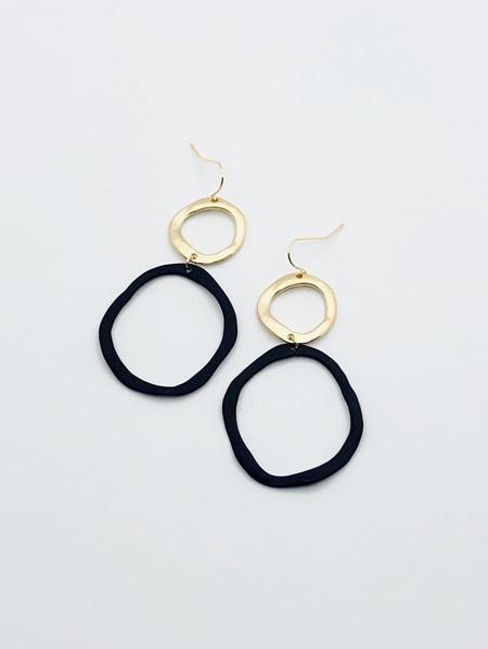 Fashion Earrings - Black and Gold Skewed Hoops