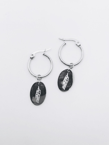 Fashion Earrings Hoop with Oval - Silver