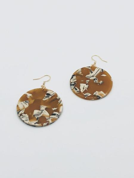 Fashion Earrings - Resin Disc Mustard