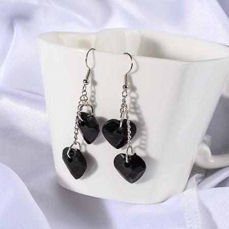 Fashion Heart Shape Dangle Earrings - Black