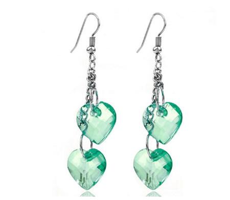 Fashion Heart Shape Dangle Earrings - Green