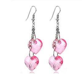 Fashion Heart Shape Dangle Earrings - PINK