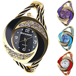 Fashion Womens Round Crystal Decorated Bracelet Watch