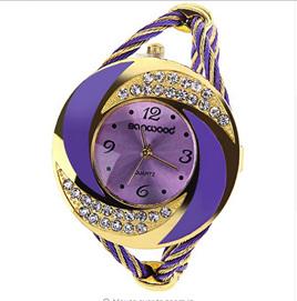Fashion Womens Round Crystal Decorated Bracelet Watch - Purple & Gold