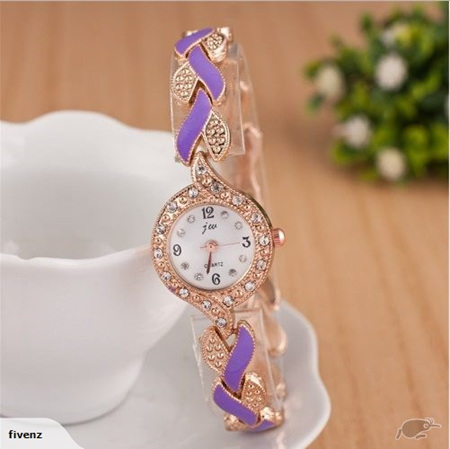 Fashion Womens Weave Crystal Decorated Bracelet Watch - Purple & Gold