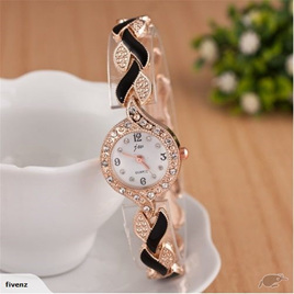 Fashion Womens Weave Crystal Decorated Bracelet Watch - Black & Gold
