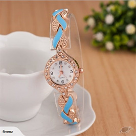 Fashion Womens Weave Crystal Decorated Bracelet Watch - Blue & Gold