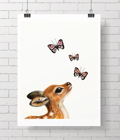 fawn & butterflies - BIG PRINT