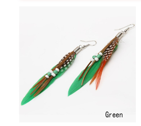 Feather & Beads Earrings - GREEN
