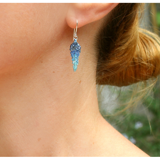 feather kotare kingfisher bird blue aqua vivid colourful koru earrings worn