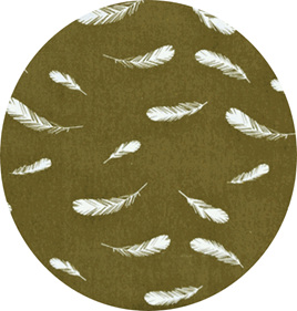 """""""Feathers"""", Olive, GOTS Organic 100% Cotton, 116 gsm"""