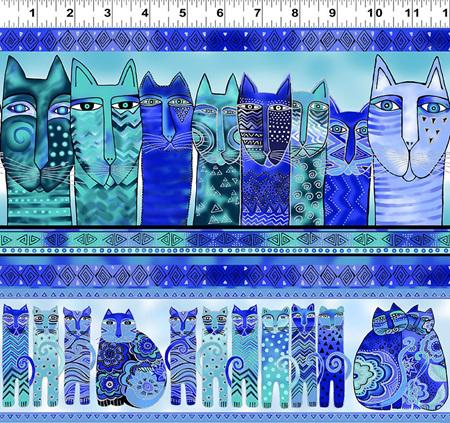 Feline Frolic Blue Cat Stripe w/ Silver Metallic 279731