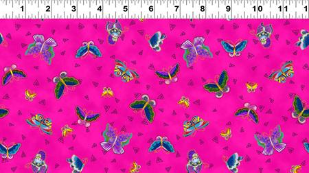 Feline Frolic Fuchsia Butterfly Toss w/ Gold Metallic 280077