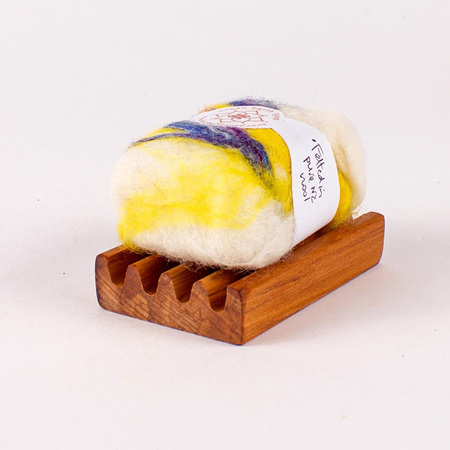 Felted Soap Bar on Soap Dish - Sweet Orange and Cedarwood