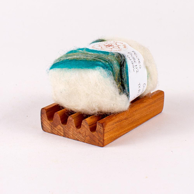 Felted Soap Bar on Soap Dish - Tea Tree and Green Clay
