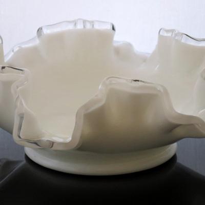 Fenton white frilly edge glass bowl