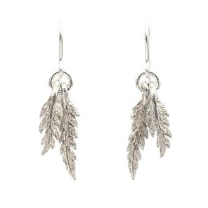 ferns tiny sterling silver kinetic dangle earrings botanical native nature