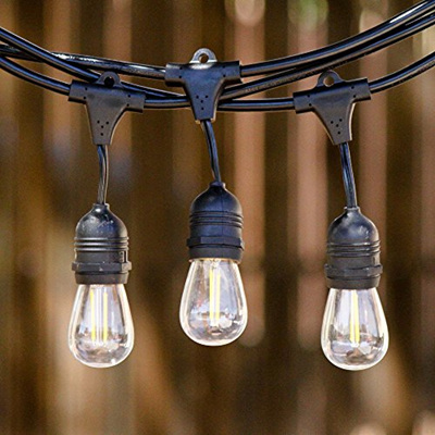 Dimmable Weatherproof 15m  Bulb Exchangeable Festoon Lights - Warm White
