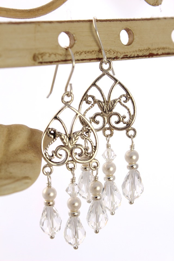 Fabulous Chandelier Earrings Featuring 9mm Swarovski Teardrop Shaped Crystals Accented With 4mm Round Pearls And Sterling Silver Roundelles
