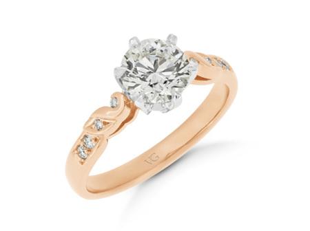 Filigree Diamond Shoulder Engagement Ring