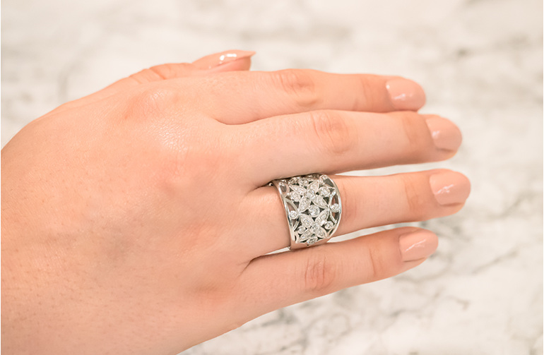 Filigree Flower Detail White Gold Diamond Cluster Ring