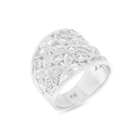 Filigree Flower Diamond Cluster Ring