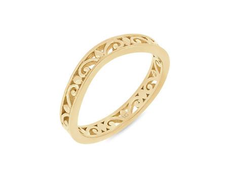 Filigree Patterned Shaped Wedding Ring