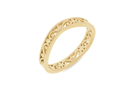 Filigree Patterned Shaped Wedding Ring