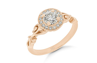 Filigree Shoulder Diamond Halo Ring