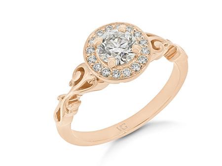 Filigree Shoulder Diamond Halo Ring