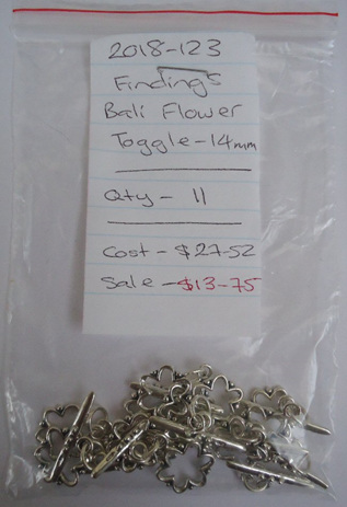 Findings - Bali Flower Toggle - 14mm