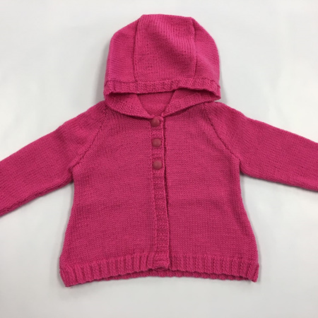 Fine Pink Knitted Wool Hooded Jacket - 6-9 months