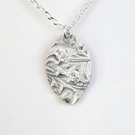 Fine Silver Navette Pendant with CZ's (2)