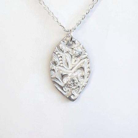 Fine Silver Navette Pendant with CZ's