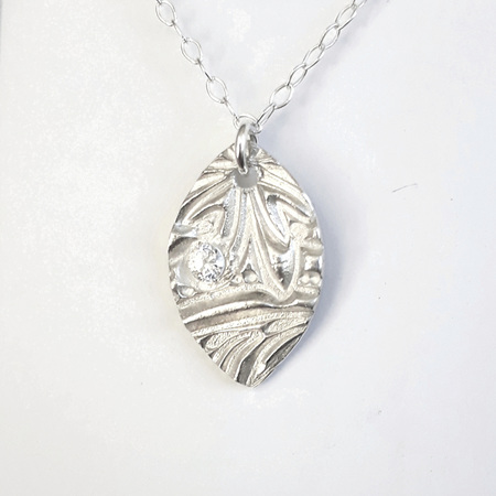 Fine Silver Navette Pendant with CZ's (4)
