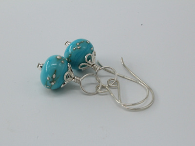 Fine silver trailed earrings - light turquoise