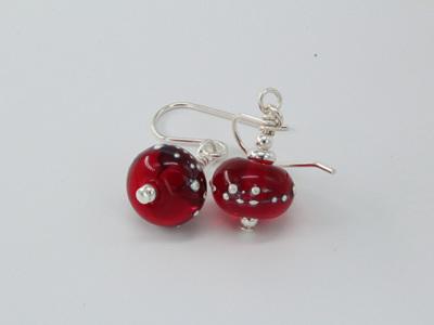 Fine silver trailed earrings - red